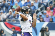 Joe Flacco #5 of the Baltimore Ravens throws a pass during the first quarter against the Tennessee Titans at Nissan Stadium on October 14, 2018 in Nashville, Tennessee.