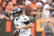 Joe Flacco #5 of the Baltimore Ravens runs for a first down in the fourth quarter against the Cleveland Browns at FirstEnergy Stadium on October 7, 2018 in Cleveland, Ohio.