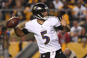 Joe Flacco #5 of the Baltimore Ravens drops back to pass in the first half during the game against the Pittsburgh Steelers at Heinz Field on September 30, 2018 in Pittsburgh, Pennsylvania.