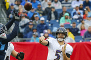 Joe Flacco #5 of the Baltimore Ravens throws a pass during the second quarter against the Tennessee Titans at Nissan Stadium on October 14, 2018 in Nashville, Tennessee.