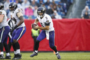 Joe Flacco #5 of the Baltimore Ravens runs with the ball during the second quarter at Nissan Stadium on October 14, 2018 in Nashville, Tennessee.