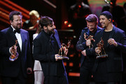 Sebastian Krumbiegel, Yvonne Catterfeld, Daniel Wirtz, Hartmut Engler and Andreas Bourani are seen on stage during the Bambi Awards 2015 show at Stage Theater on November 12, 2015 in Berlin, Germany.