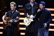 Peter Maffay and Johannes Oerding perform on stage during the Bambi Awards 2015 show at Stage Theater on November 12, 2015 in Berlin, Germany.