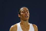 Francesca Schiavone of Italy reacts to losing a point against Kateryna Bondarenko of Ukraine during day 2 of the Bank of the West Classic at Stanford University Taube Family Tennis Stadium on August 1, 2017 in Stanford, California.