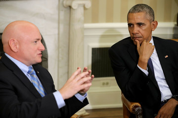 Barack Obama President Obama Meets With NASA Astronaut Scott Kelly in the Oval Office