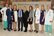 (L-R) Karl Krieger, Dr Steven J. Corwin, Dr Holly Anderson, Ronald O. Perelman, Barbra Streisand, Laurie H. Glimcher, Bruce B. Lerman MD, Dr Laura Forese and Dr Wayne Isom visit the Ronald O. Perelman Heart Institute at New York Presbyterian Hospital on September 20, 2012 in New York City.