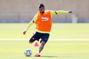 Arturo Vidal of FC Barcelona kicks the ball during a training session at Ciutat Esportiva Joan Gamper on May 23, 2020 in Barcelona, Spain. Spanish LaLiga clubs are back training in groups of up to 10 players following the LaLiga's 'Return to Training' protocols.