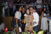 Marvin Humes (2ndR), Rochelle Humes (L) and Alan Carr (R) attend as Barclaycard present British Summer Time Hyde Park at Hyde Park on July 14, 2018 in London, England.
