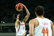 Rudy Fernandez #5 of Spain shoots the ball during a Men's Basketball Preliminary Round Group B game between Spain and Argentina on Day 10 of the Rio 2016 Olympic Games at Carioca Arena 1 on August 15, 2016 in Rio de Janeiro, Brazil.