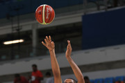 Nicolas Batum #5 of France shoots over Rudy Fernandez #5 of Spain during the Men's Quarterfinal match on Day 12 of the Rio 2016 Olympic Games at Carioca Arena 1 on August 17, 2016 in Rio de Janeiro, Brazil.