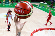 Brittney Griner #15 of United States shoots during a Women's Semifinal Basketball game between the United States and France on Day 13 of the Rio 2016 Olympic Games at Carioca Arena 1 on August 18, 2016 in Rio de Janeiro, Brazil.