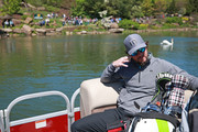 Entertainer Mark Wahlberg sits on a boat taking him to the sixth hole during the final round of the PGA TOUR Champions Bass Pro Shops Legends of Golf at Big Cedar Lodge on April 28, 2019 in Ridgedale, Missouri.