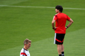 Bastian Schweinsteiger Thomas Mueller Germany Training and Press Conference: 2014 FIFA World Cup Brazil Final