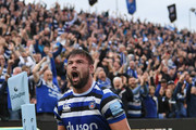 Bath player Elliott Stooke celebrates after scoring a try in the corner during the Gallagher Premiership Rugby match between Bath Rugby and Gloucester Rugby at Recreation Ground on September 8, 2018 in Bath, United Kingdom.