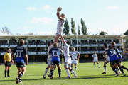Andy Powell of Sale Sharks wins the line out during the Aviva Premiership match between Bath Rugby and Sale Sharks at Recreation Ground on September 29, 2012 in Bath, England.
