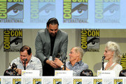 "Comic-Con International Director of Programming Eddie Ibrahim (2nd L) presents actors (L-R) Burt Ward, Adam West and Julie Newmar with Comic-Con International's Inkpot Awards at the ""Batman: The Complete Series"" DVD release presentation during Comic-Con International 2014 at the San Diego Convention Center on July 24, 2014 in San Diego, California."