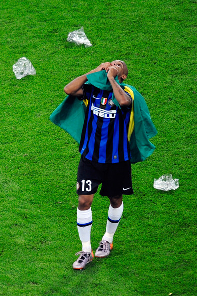 Maicon of Inter Milan celebrates his team's victory at the end of the UEFA Champions League Final match between FC Bayern Muenchen and Inter Milan at the Estadio Santiago Bernabeu on May 22, 2010 in Madrid, Spain.