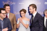 """(L-R) Josh Gad, Luke Evans, Emma Watson and Dan Stevens attend the UK Launch Event of """"Beauty And The Beast"""" at Odeon Leicester Square on February 23, 2017 in London, England."""
