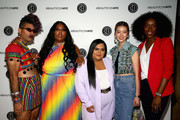 (L-R) Alok V Menon, Lizzo, Nabela Noor, Irene Kim and Dana L. Oliver attend Beautycon Festival NYC 2018 - Day 1 at Jacob Javits Center on April 21, 2018 in New York City.