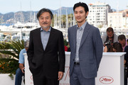 """Director Kiyoshi Kurosawa and actor Ryuhei Matsuda attend the """"Before We Vanish (Sanpo Soru Shinryakusha)"""" photocall during the 70th annual Cannes Film Festival at Palais des Festivals on May 21, 2017 in Cannes, France."""