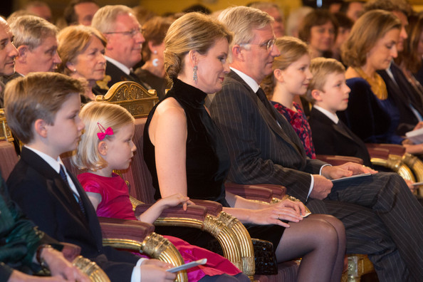 Prince Gabriel, Princess Eleonore, Queen Mathilde, King Philippe, Princess Elisabeth and Prince Emmanuel of Belgium attend the Xmas Concert at the Royal Palace on December 17, 2014 in Brussel, Belgium.
