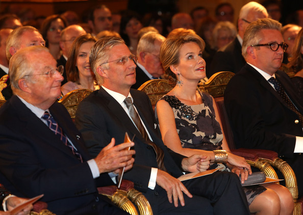 King Albert, Prince Philippe, Princess Mathilde and Prince Laurent of Belgium attend a concert as part of 'Festival van Vlaanderen' at Palais de Bruxelles on October 24, 2012 in Brussel, Belgium.
