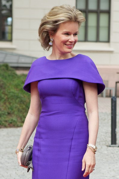 Queen Mathilde of Belgium arrives for a meeting at the Prime Minister's office on April 30, 2014 in Oslo, Norway.