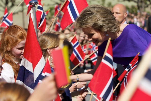 Queen Mathilde of Belgium visits the Norwegian Museum of Cultural History during an offical visit on April 30, 2014 in Oslo, Norway.