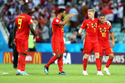 Kevin De Bruyne, Eden Hazard Mossua Dembele and Romelu Lukaku of Belgium celebrates victory following the 2018 FIFA World Cup Russia group G match between Belgium and Panama at Fisht Stadium on June 18, 2018 in Sochi, Russia.