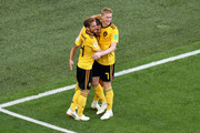 Eden Hazard of Belgium celebrates with teammates after scoring his team's second goal during the 2018 FIFA World Cup Russia 3rd Place Playoff match between Belgium and England at Saint Petersburg Stadium on July 14, 2018 in Saint Petersburg, Russia.
