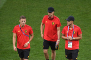 Kevin De Bruyne of Belgium looks on durnig a pitch inspection prior to the 2018 FIFA World Cup Russia Round of 16 match between Belgium and Japan at Rostov Arena on July 2, 2018 in Rostov-on-Don, Russia.