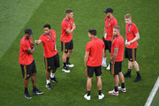 Belgium players look on during a pitch inspection prior to the 2018 FIFA World Cup Russia Round of 16 match between Belgium and Japan at Rostov Arena on July 2, 2018 in Rostov-on-Don, Russia.
