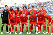 Belgium team lines up  prior to the 2018 FIFA World Cup Russia group G match between Belgium and Panama at Fisht Stadium on June 18, 2018 in Sochi, Russia.