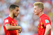 Eden Hazard of Belgium talks to team mate Kevin De Bruyne during the 2018 FIFA World Cup Russia group G match between Belgium and Panama at Fisht Stadium on June 18, 2018 in Sochi, Russia.