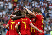 Romelu Lukaku of Belgium celebrates with teammates after scoring his team's second goal during the 2018 FIFA World Cup Russia group G match between Belgium and Panama at Fisht Stadium on June 18, 2018 in Sochi, Russia.