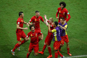Kevin De Bruyne of Belgium celebrates with teammates after scoring his team's first goal in extra time during the 2014 FIFA World Cup Brazil Round of 16 match between Belgium and the United States at Arena Fonte Nova on July 1, 2014 in Salvador, Brazil.