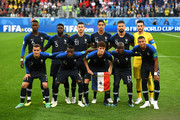 France players pose for a team photo during the 2018 FIFA World Cup Russia Semi Final match between Belgium and France at Saint Petersburg Stadium on July 10, 2018 in Saint Petersburg, Russia.