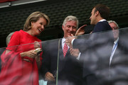 Belgium's King Philippe (C) and Queen Mathilde (L) and French President Emmanuel Macron attend the 2018 FIFA World Cup Russia Semi Final match between Belgium and France at Saint Petersburg Stadium on July 10, 2018 in Saint Petersburg, Russia.