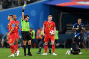 Referee Andres Cunha shows a yellow card to Eden Hazard of Belgium during the 2018 FIFA World Cup Russia Semi Final match between Belgium and France at Saint Petersburg Stadium on July 10, 2018 in Saint Petersburg, Russia.