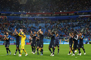 France players acknowledge the fans following the 2018 FIFA World Cup Russia Semi Final match between Belgium and France at Saint Petersburg Stadium on July 10, 2018 in Saint Petersburg, Russia.