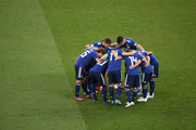 Japan players form a huddle prior to the 2018 FIFA World Cup Russia Round of 16 match between Belgium and Japan at Rostov Arena on July 2, 2018 in Rostov-on-Don, Russia.