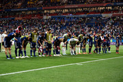 Japan players acknowledge the fans following the 2018 FIFA World Cup Russia Round of 16 match between Belgium and Japan at Rostov Arena on July 2, 2018 in Rostov-on-Don, Russia.