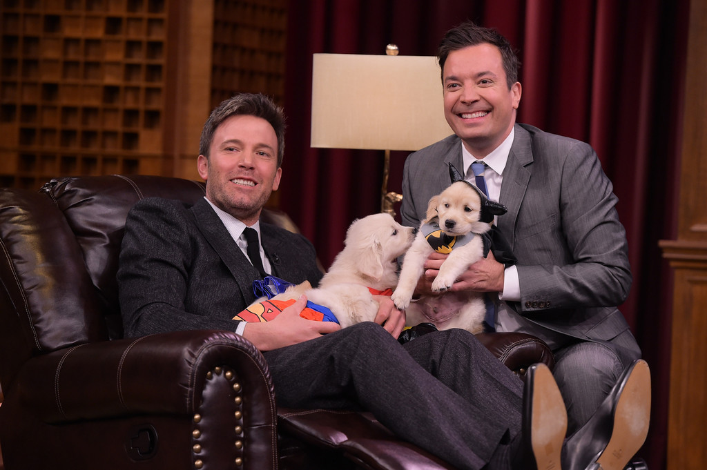 These Pictures of Ben Affleck Being Smothered by 'Superman' Puppies Will Make Your Friday