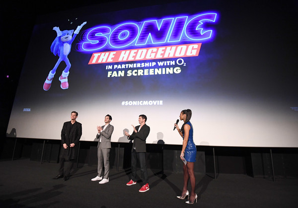 """""""Sonic the Hedgehog"""" London Fan Screening [sonic the hedgehog,event,design,advertising,competition,display device,performance,talent show,graphics,stage,brand,jeff fowler,ben schwartz,jim carrey,l-r,vick hope,london,united kingdom,vue westfield,london fan screening,public relations,convention,competition,public]"""