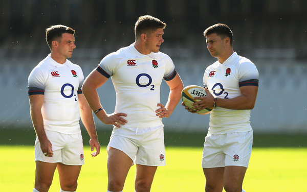 England Media Access [player,sports,team sport,ball game,football player,rugby player,sports equipment,rugby,sportswear,tournament,george ford,owen farrell,ben youngs,media access,l-r,durban,south africa,kings park stadium,england,training session]