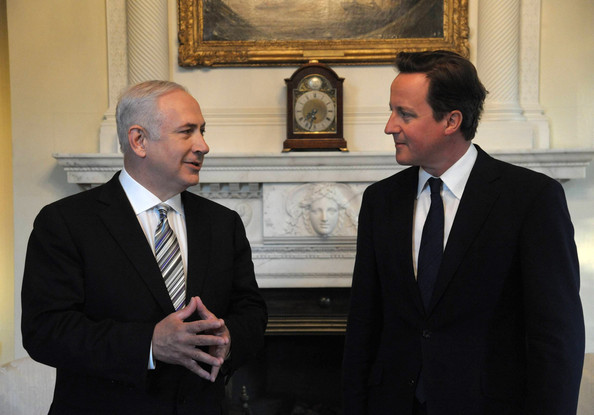 Benjamin Netanyahu In this handout provided by the Israeli Government Press Office (GPO), British Prime Minister David Cameron greets Israeli Prime Minister Benjamin Netanyahu inside Number 10 Downing Street on May 4, 2011 in London, England. Netanyahu is on an official European tour to discuss the Palestinian reconciliation power-sharing agreement between Hamas and Fatah and to garner opposition against it.