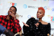 Jay Ellis (L) listens as Anika Noni Rose speaks at the second annual Cocktails and Conversation event presented by the Bentonville Film Festival and Google at the DirecTV Lodge presented by AT&T during Sundance Film Festival 2018 on January 20, 2018 in Park City, Utah.