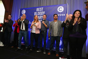(L-R) Ted Allen, Maneet Chauhan, Geoffrey Zakarian, Amanda Freitag, Marc Murphy, Aaron Sanchez and Alex Guarnaschelli attend Best Bloody Mary Brunch Presented By Velocity Hosted By The Cast Of Chopped during Food Network & Cooking Channel New York City Wine & Food Festival presented By FOOD & WINE at Pier 60 on October 18, 2015 in New York City.