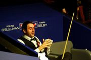 Ronnie O'Sullivan of England shows his disapointment after losing his Quarter Final match against Mark Selby during the Betfred.com World Snooker Championships at The Crucible Theatre on April 28, 2010 in Sheffield, England.