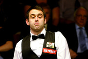 Ronnie O'Sullivan of England reacts to a shot during his match against  Mark Selby of England in the Quarter Final match of the Betfred.com World Snooker Championships at The Crucible Theatre on April 28, 2010 in Sheffield, England.